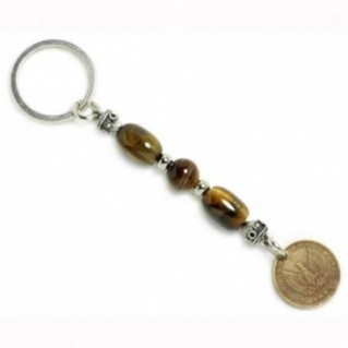 Keyring-Key Chain ~ Natural Tiger's Eye Gemstone & Authentic Vintage Greek Coin