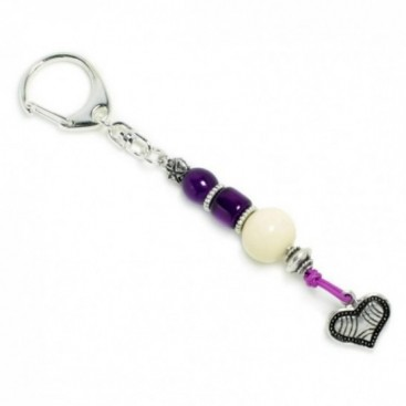Keyring-Key Chain ~ High Quality Artificial Resin & Heart - P&W