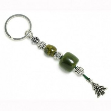 Xmas Keyring-Key Chain ~ High Quality Green Artificial Resin & Christmas Tree
