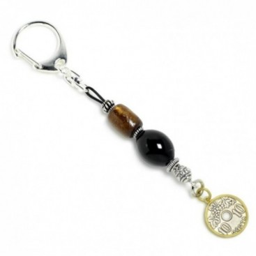 Keyring-Key Chain ~ Black Coral-Yusr, Sterling Silver & Dekara Coin