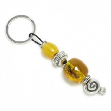 Keyring-Key Chain ~ High Quality Artificial Resin in Amber Color with Bee Inclusion & Spiral