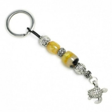 Keyring-Key Chain ~ High Quality Yellow Artificial Resin & Turtle