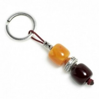 Keyring-Key Chain ~ High Quality Burgundy & Butterscotch Artificial Resin
