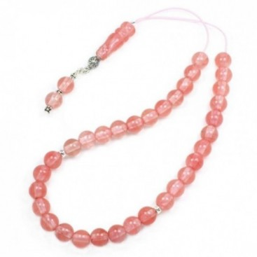 Prayer Beads-Tasbih-Masbaha-Komboloi ~ Strawberry Quartz Gemstone - Round
