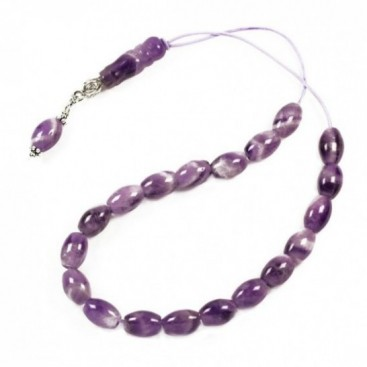 Worry Beads-Greek Komboloi ~ Amethyst Gemstone - Rice Shape