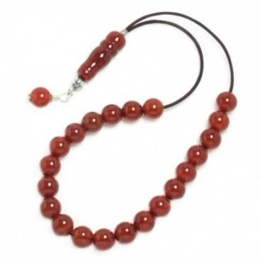 Worry Beads Komboloi ~ Carnelian Gemstone & Sterling Silver - Round Shape