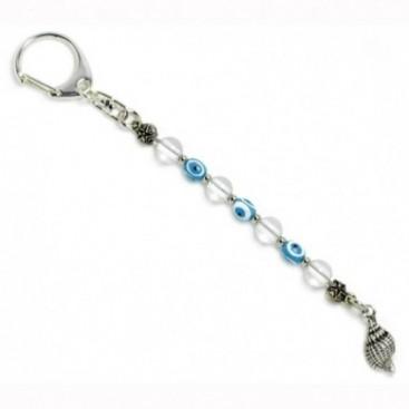 Keyring-Key Chain ~ Natural Rock Crystal Gemstone and Evil Eye Amulet