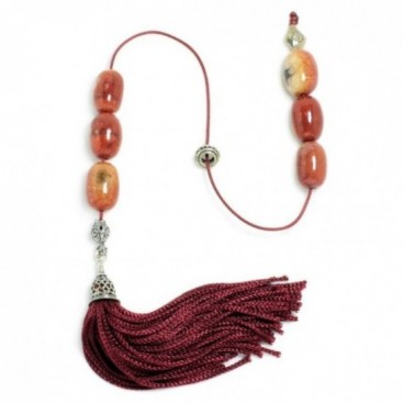 Begleri Beads - Apple Coral & Silver - Burgundy Tassel