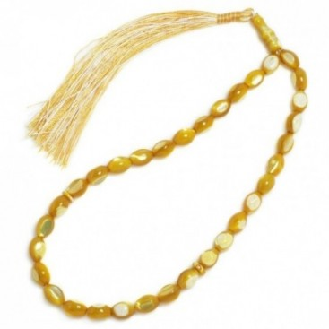 Prayer Beads-Tasbih-Masbaha ~ Mother of Pearl-MOP- Yellow