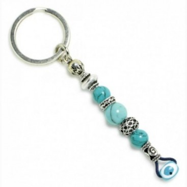 Keyring-Key Chain ~ Turquoise Gemstone & Evil Eye Amulet