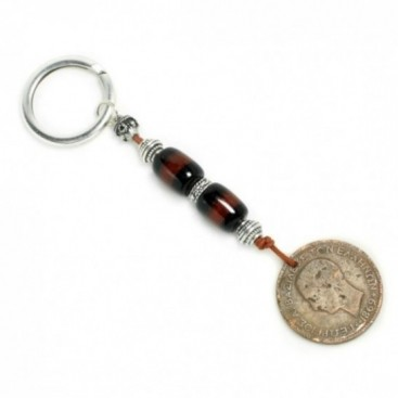 Keyring-Key Chain ~ High Quality Artificial Resin & Authentic Vintage Greek Coin