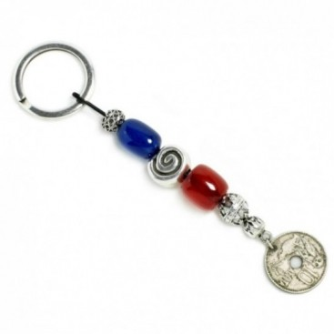 Keyring-Key Chain ~ High Quality Blue & Red Artificial Resin - with Vintage Coin
