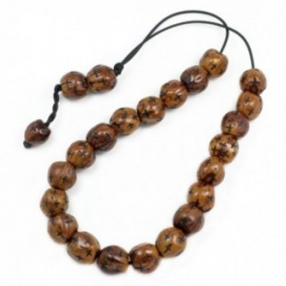 Worry Beads - Greek Komboloi ~ Scented Nutmeg Seeds - Brown with Engraved Crosses