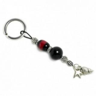 Keyring-Key Chain ~ High Quality Artificial Resin - Starfish & Seashell - Black & M