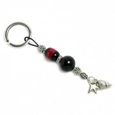 Keyring-Key Chain ~ High Quality Artificial Resin - Starfish & Seashell - Black & M