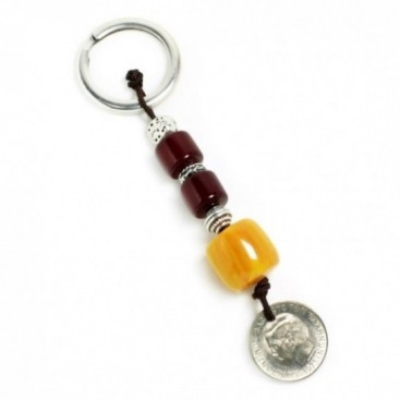 Keyring-Key Chain ~ High Quality Artificial Resin & Authentic Vintage Greek Coin - B&B