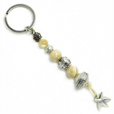 Keyring-Key Chain ~ Mother of Pearl-MOP - with Starfish Motif