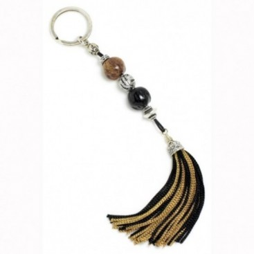 Keyring-Key Chain ~ Scented Nutmeg Seeds & 2-Colors Tassel