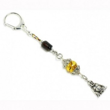 Keyring-Key Chain ~ Solid Baltic & Dominican Amber, Sterling Silver & Buddha