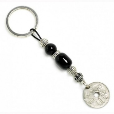 Keyring-Key Chain ~ Natural Black Onyx Gemstone & Authentic Vintage Greek Coin