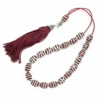 Worry Beads Komboloi ~ Natural Agate with Stripes - Dzi Beads Imitation & Silver