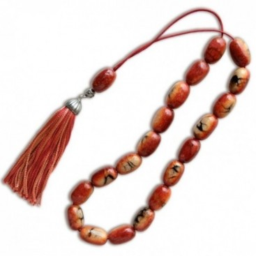 Worry Beads-Greek Komboloi ~ Apple Coral- Rice Shape