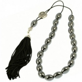 Worry Beads-Greek Komboloi ~ Hematite Gemstone - Rice Shape with Silver Shield