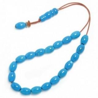 Worry Beads Komboloi ~ Turquoise Howlite Gemstone - Rice Shape