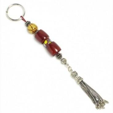 Vintage Cherry Amber Faturan, Misketa & Sterling Silver ~ Keyring-Key Chain