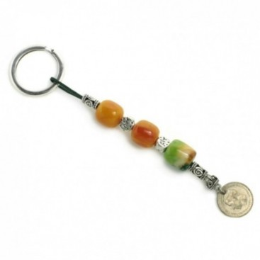 Keyring-Key Chain ~ High Quality Artificial Resin & Authentic Vintage Greek Coin - B&G