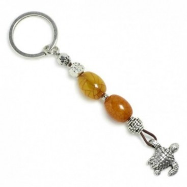 Keyring-Key Chain ~ High Quality Butterscotch Artificial Resin & Turtle
