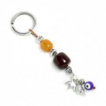 Keyring-Key Chain ~ High Quality Artificial Resin - Evil Eye, Starfish & Seashell