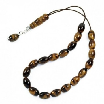 Worry Beads-Greek Komboloi ~ Tiger's Eye Gemstone - Rice Shape