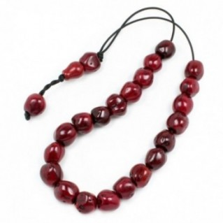 Worry Beads - Greek Komboloi ~ Scented Nutmeg Seeds - Dark Red