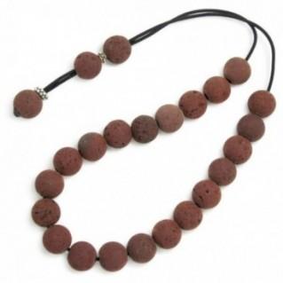 Worry Beads-Komboloi ~ Red Santorini Lava Rock & Silver - Round