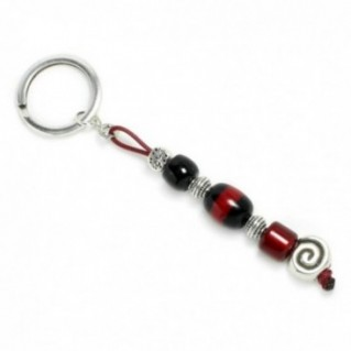 Keyring-Key Chain ~ High Quality Black & Burgundy Artificial Resin & Spiral