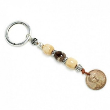 Keyring-Key Chain ~ High Quality Artificial Resin & Authentic Vintage Greek Coin - SAU&M