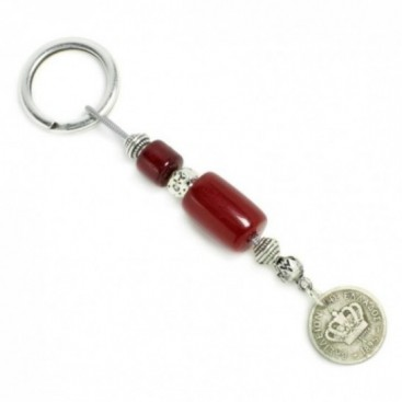 Keyring-Key Chain ~ High Quality Artificial Resin & Authentic Vintage Greek Coin - Burgundy