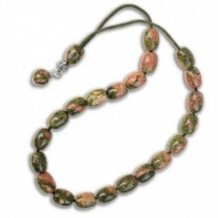 Worry Beads-Greek Komboloi ~ Unakite Gemstone - Rice Shape