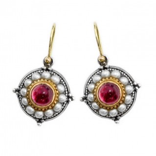 Gerochristo 1197 ~ Solid Gold, Silver & Pearls Medieval-Byzantine Earrings