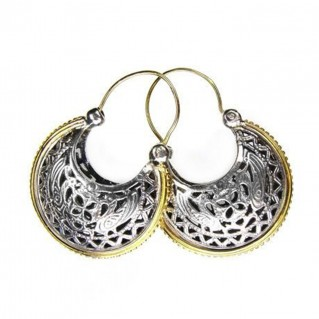 Gerochristo 1198 ~ Solid Gold & Silver Medieval-Byzantine Crescent Earrings