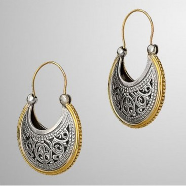 Gerochristo 1199 ~ Solid Gold & Silver Medieval-Byzantine Crescent Earrings