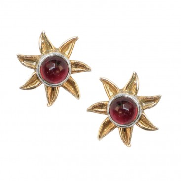 Gerochristo 1209 ~ Solid Gold, Sterling Silver and Gemstones Stud Earrings