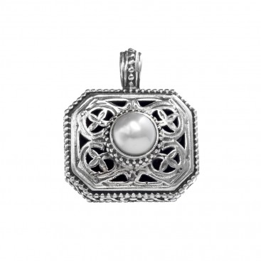 Gerochristo 1211N~ Sterling Silver & Pearl Medieval-Byzantine Charm Pendant