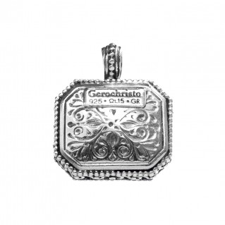 Gerochristo 1211N~ Sterling Silver & Pearl Medieval-Byzantine Charm Pendant