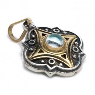 Gerochristo 1211 ~ Solid 18K Gold, Sterling Silver & Gemstone Medieval-Byzantine Pendant