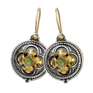 Gerochristo 1212 ~ Solid Gold & Sterling Silver Medieval-Byzantine Earrings