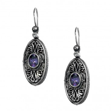 Gerochristo 1213N ~Sterling Silver & Zircon Stones Medieval-Byzantine Drop Earrings