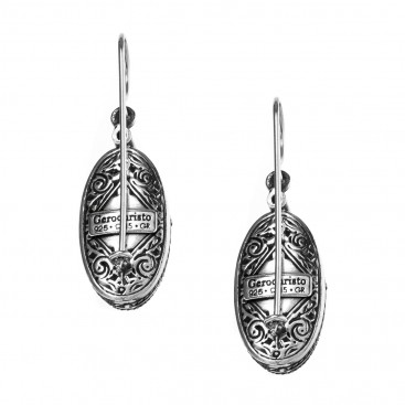 Gerochristo 1214N ~ Sterling Silver & Pearls Medieval-Byzantine Drop Earrings