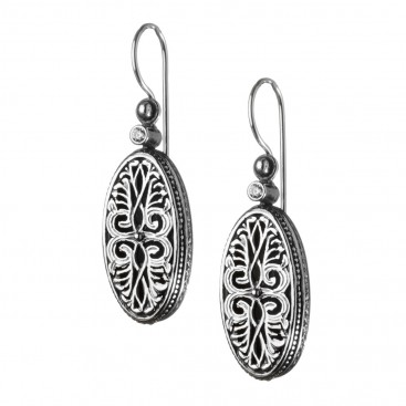 Gerochristo 1215N ~Sterling Silver & Zircon Stones Medieval-Byzantine Drop Earrings